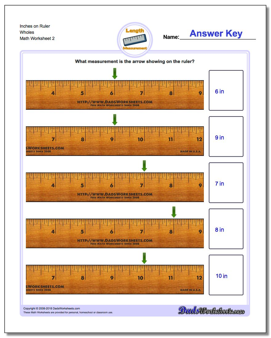 Inches on Ruler Wholes www.dadsworksheets.com/worksheets/inches-measurement.html Worksheet
