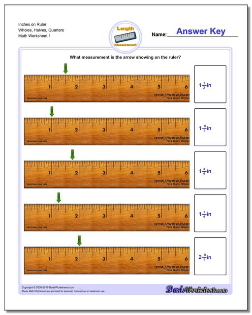 Inches Measurement Worksheets on Ruler Wholes, Halves, Quarters