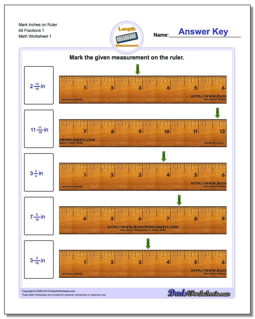 Worksheets Fractions On A Ruler Worksheet mark the ruler in inches measurement worksheet on all fraction worksheets 1