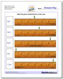 Mark Inches on Ruler Eighths and Sixteenths Worksheet