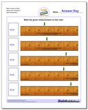 Mark Inches on Ruler Halves and Quarters 2 Worksheet