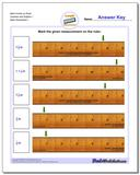 Mark Inches on Ruler Quarters and Eighths 1 Worksheet