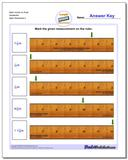 Mark Inches on Ruler Sixteenths Worksheet