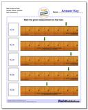 Mark Inches on Ruler Wholes, Halves, Quarters Worksheet