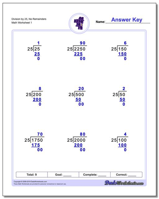 Long Division Worksheets by Factors of 25