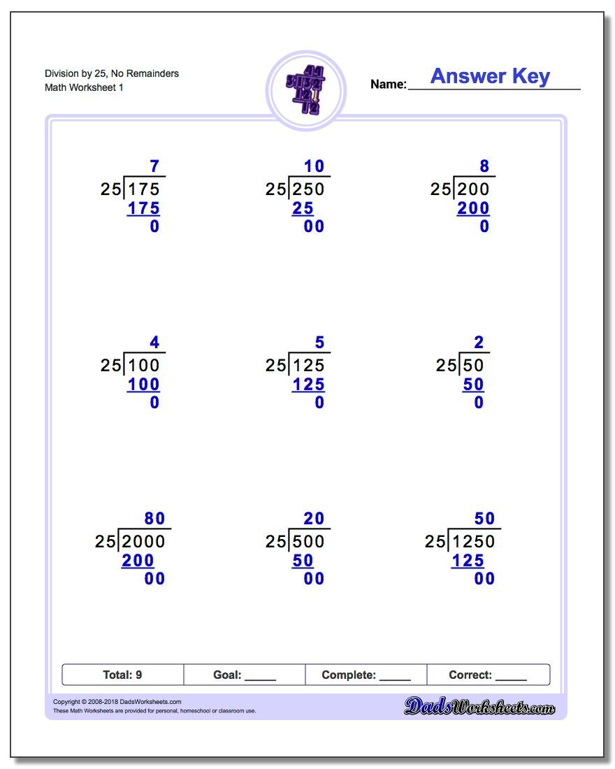 Long Division Worksheet by Factors of 25