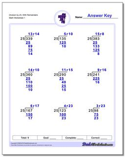 Long Division Worksheet by 25, With Remainders