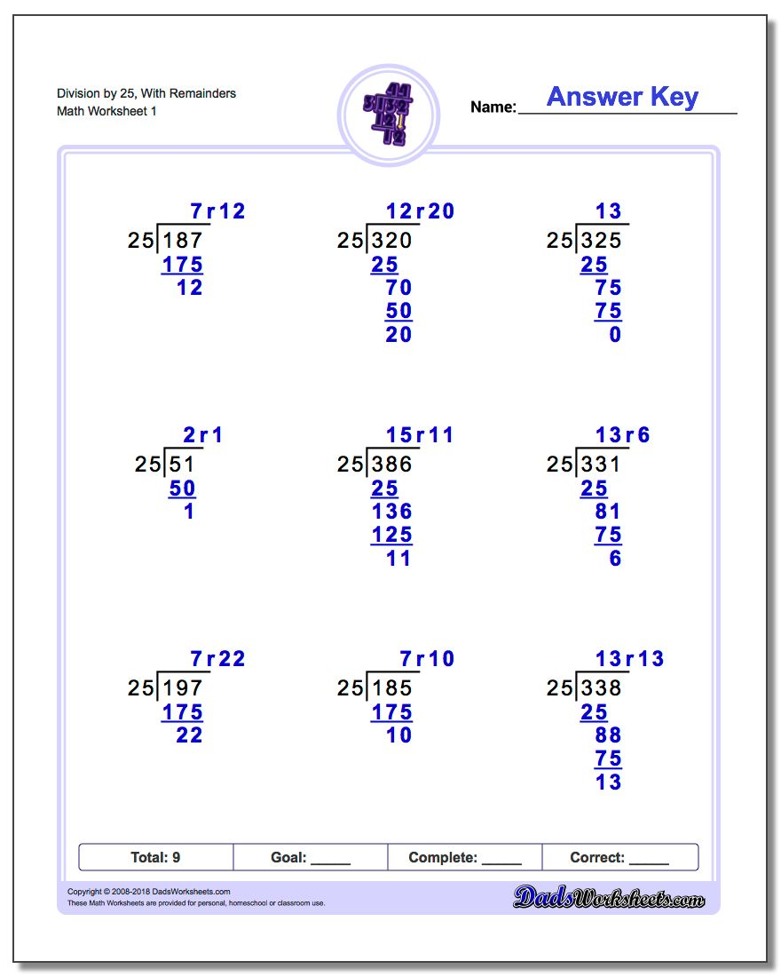 Division by Factors of 25 – Long Division 4th Grade Worksheet