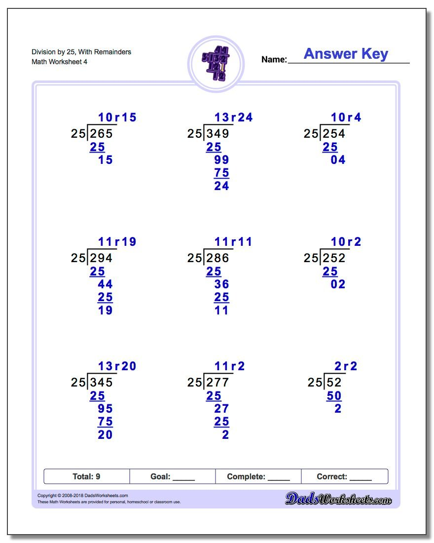 Division Worksheet by 25, With Remainders