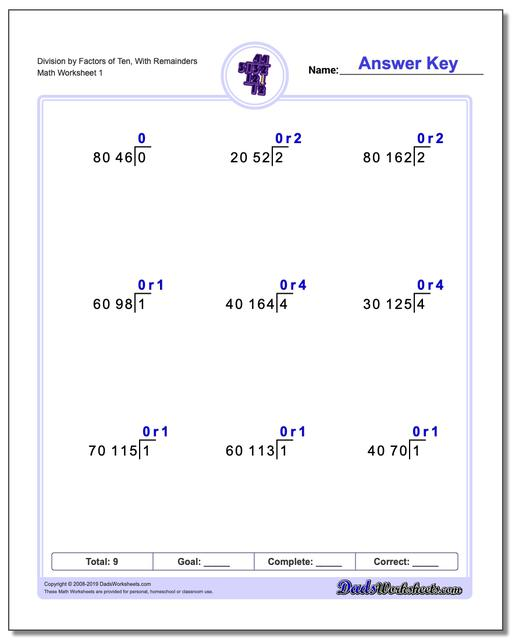Long Division Worksheets by Factors of Ten, With Remainders