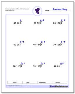 Long Division Worksheet by Factors of Ten, With Remainders
