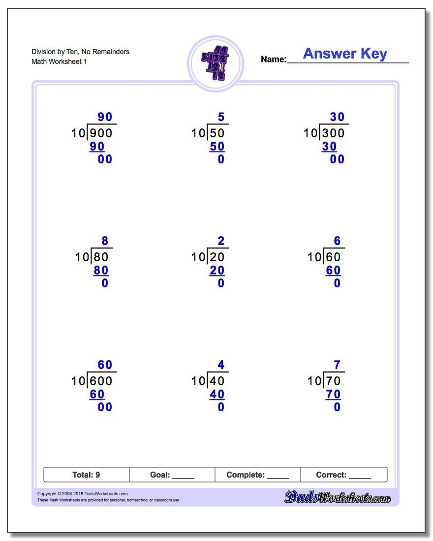 Long Division Worksheet by Factors of Ten