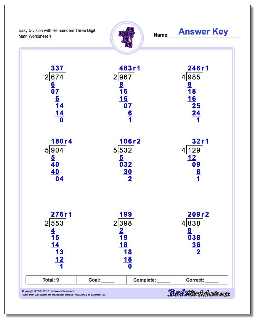 Long Division Worksheet Easy with Remainders Three Digit