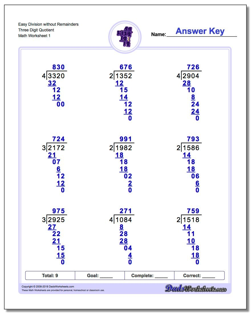 worksheet Division No Remainders division without remainders long worksheet easy three digit quotient