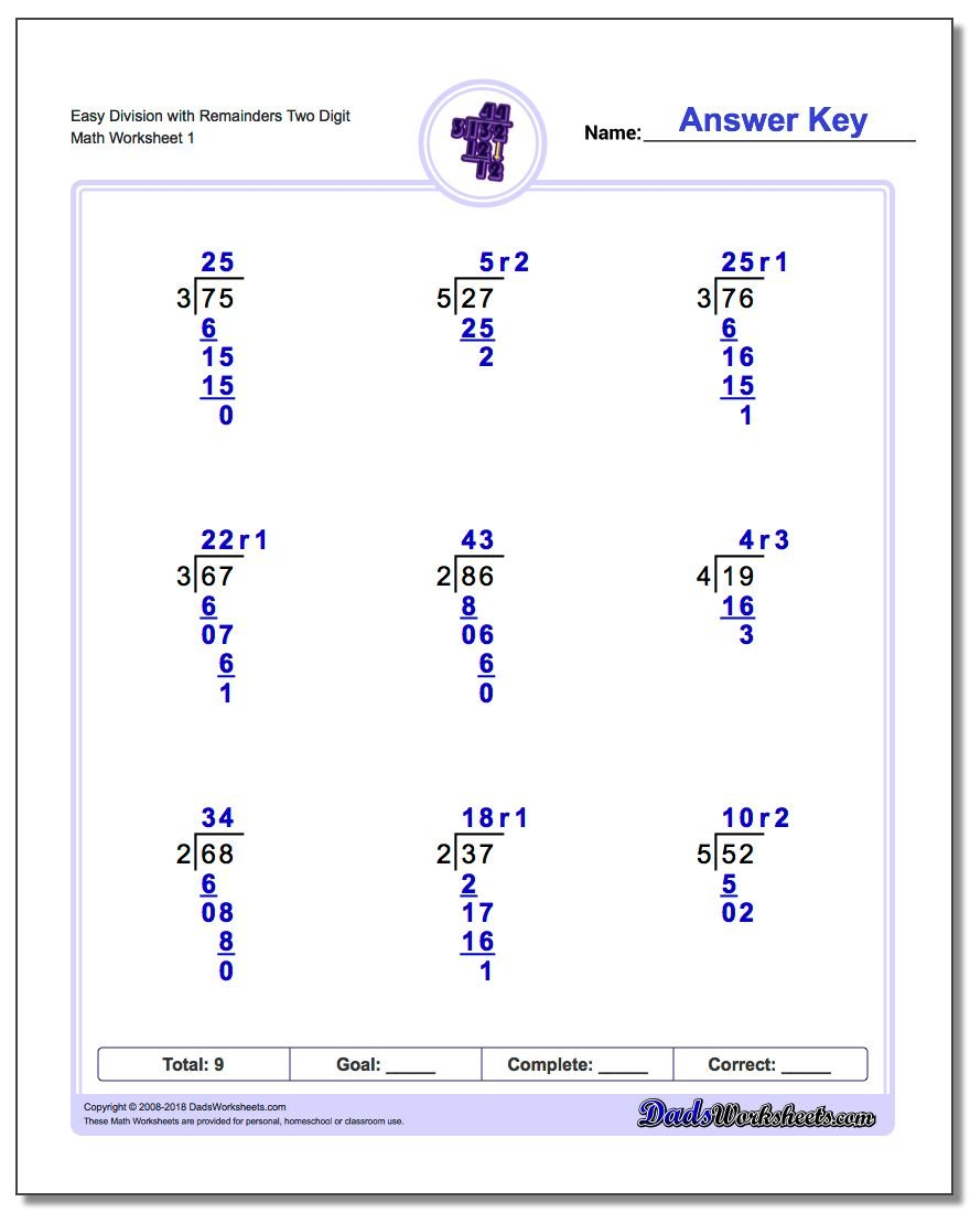Division With Remainders Basic Division Practice Worksheets Long Division Worksheet Easy With Remainders Two Digit