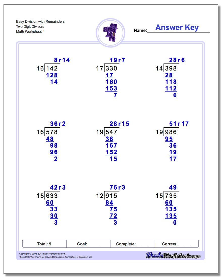 Division with MultiDigit Divisors – Division Practice Worksheet