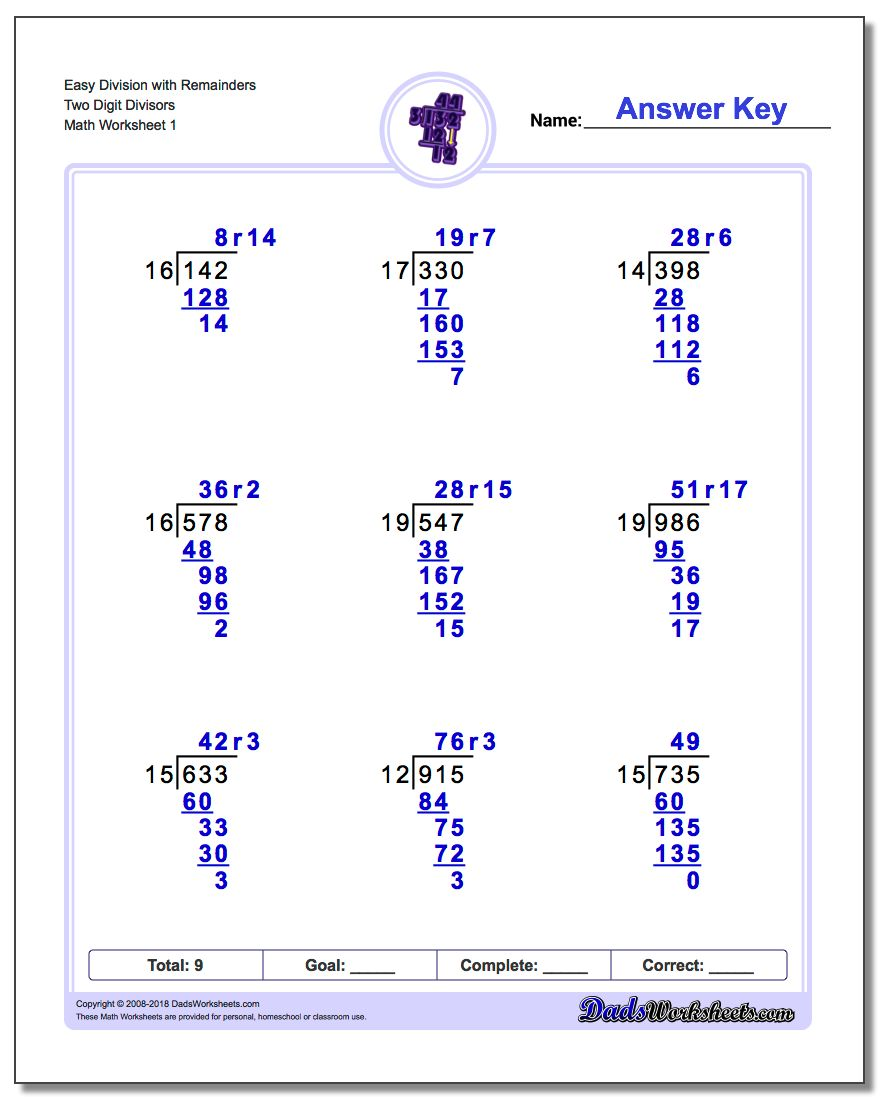 worksheet Long Division Math Worksheets division with multi digit divisors long worksheet easy remainders two divisors