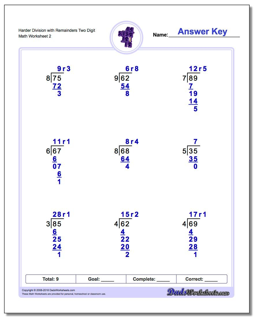 Harder Division Worksheet with Remainders Two Digit www.dadsworksheets.com/worksheets/long-division.html