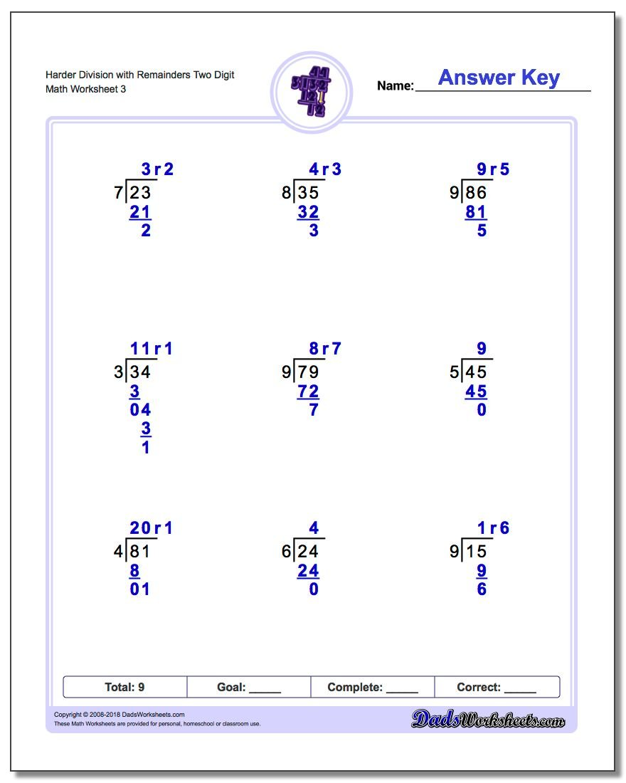 Harder Division Worksheet with Remainders Two Digit