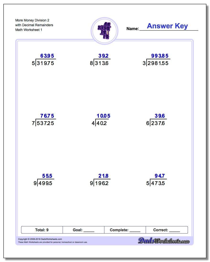 Long Division Worksheet More Money 2 with Decimal Remainders