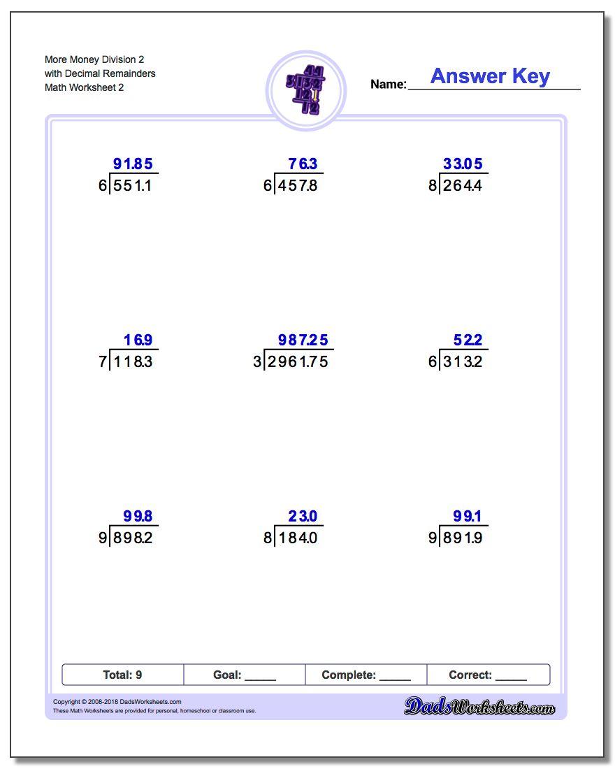 More Money Division Worksheet 2 with Decimal Remainders www.dadsworksheets.com/worksheets/long-division.html