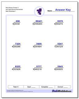Long Division Worksheet More Money 3 with Digit Decimal Remainders