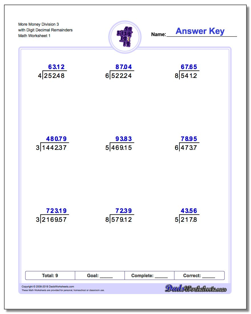 Division with Decimal Results – Division Printable Worksheets