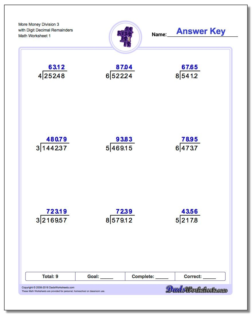 Division with Decimal Results – Worksheet on Division