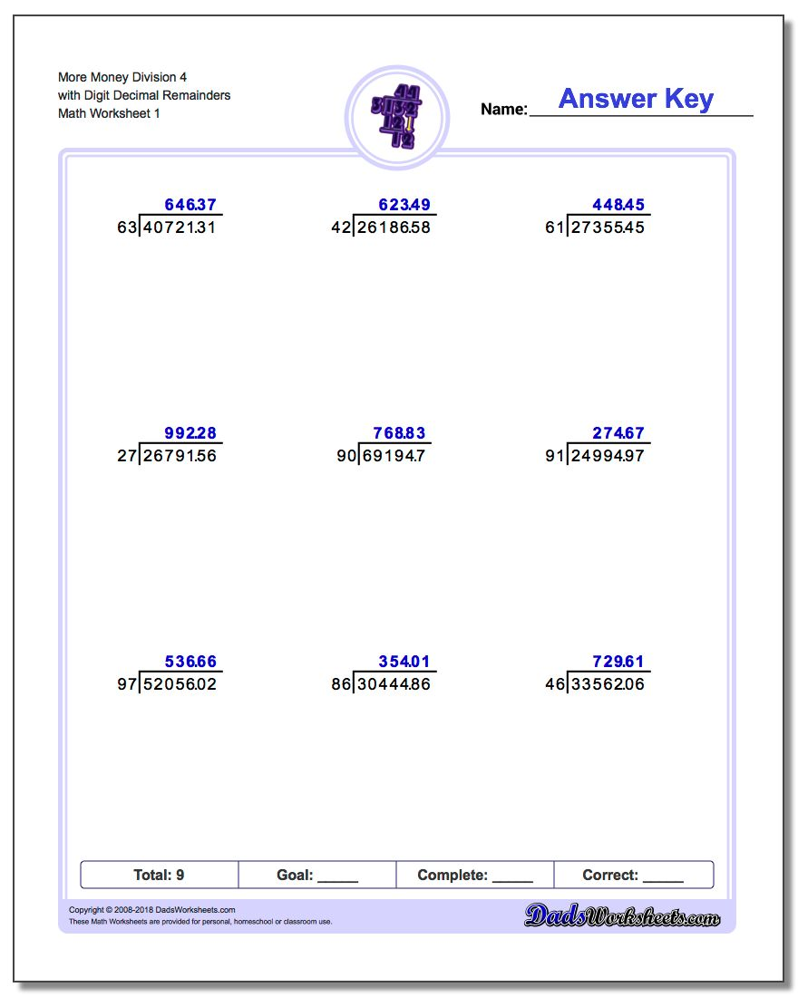 Division with Decimal Results – Money Division Worksheets