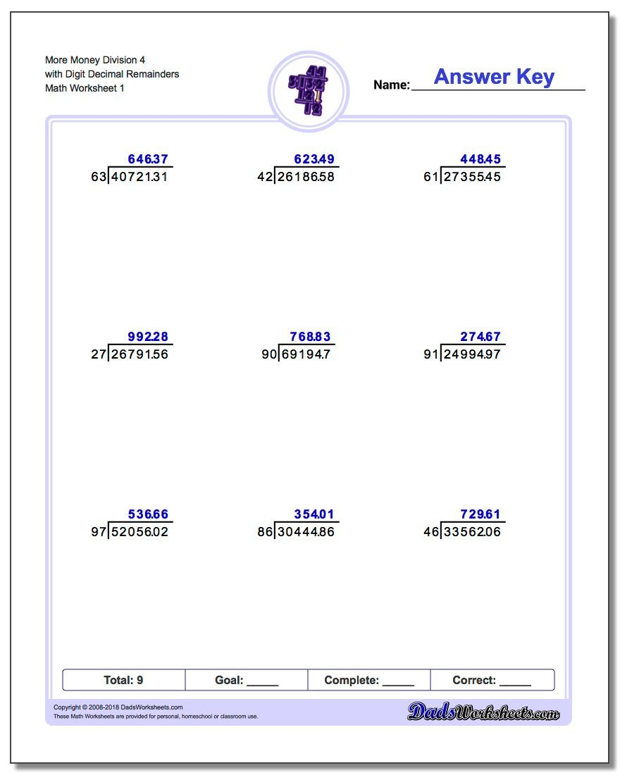 Division with Decimal Results – Decimal Division Worksheet