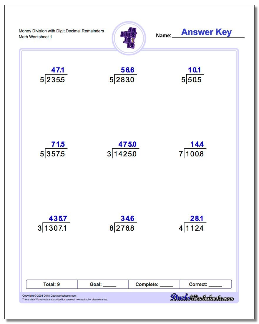 Division with Decimal Results – Division of Money Worksheets