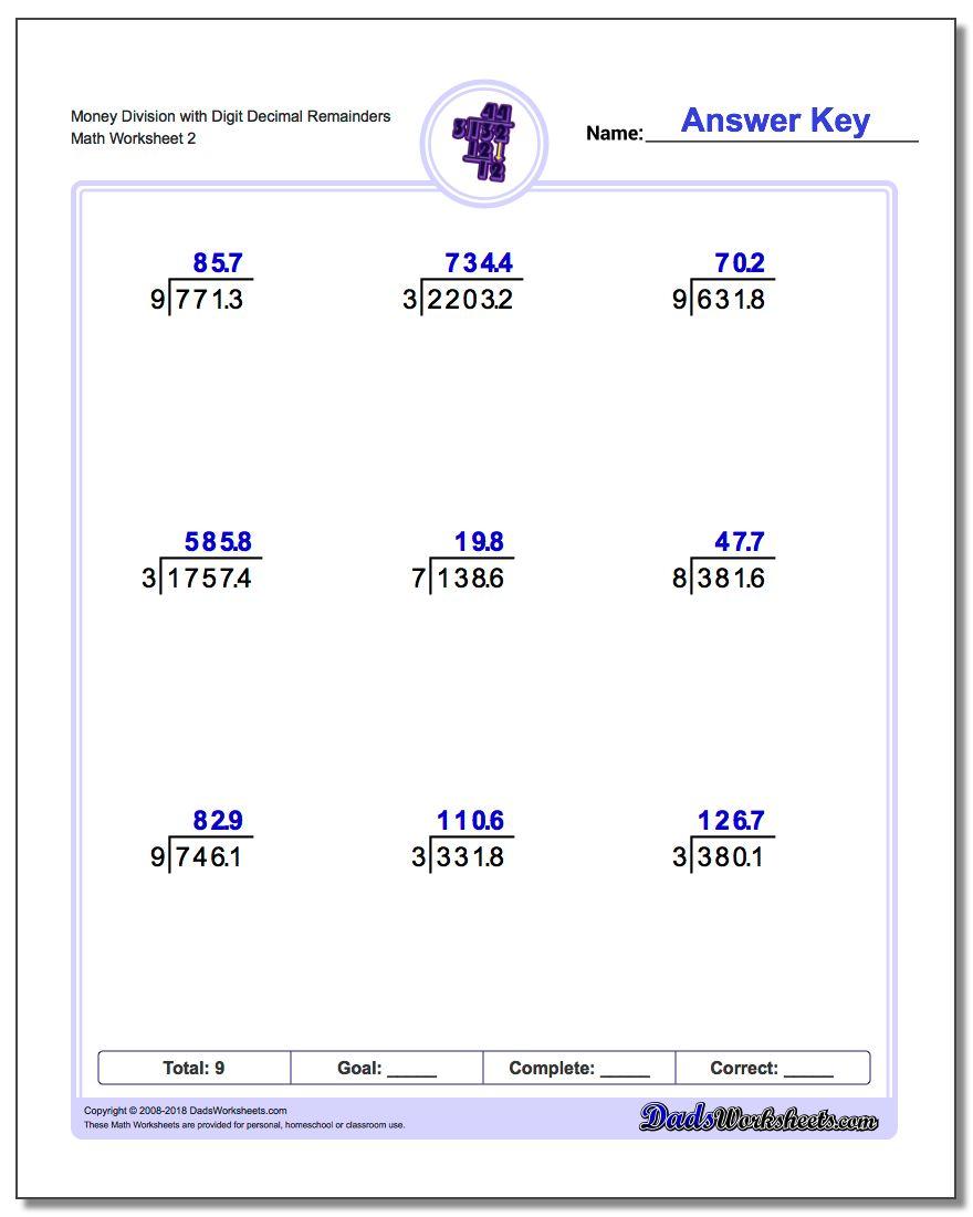 division with decimal results money division worksheet with digit decimal remainders  wwwdadsworksheetscomworksheetslong