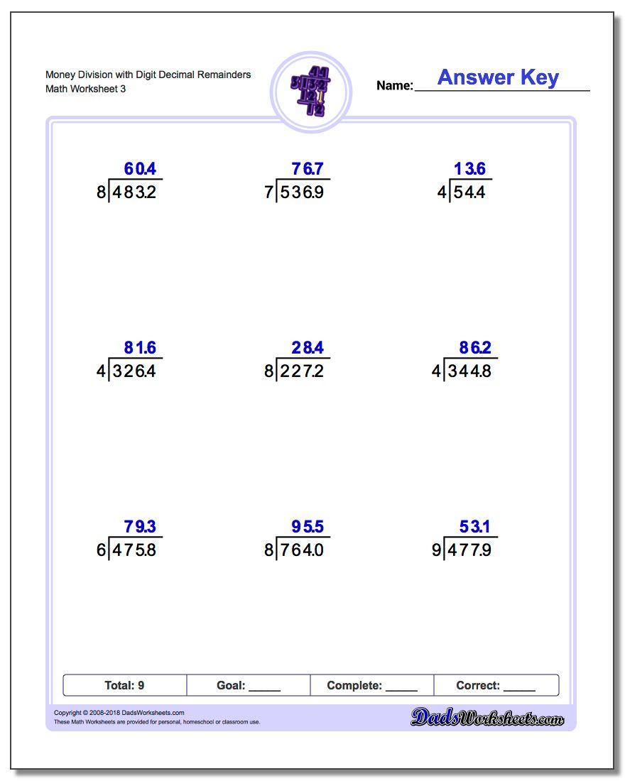 Money Division Worksheet with Digit Decimal Remainders