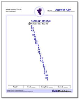 Long Division Worksheet Monster 914 Digit