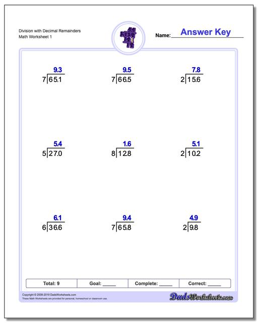 Long Division Worksheets with Decimal Results
