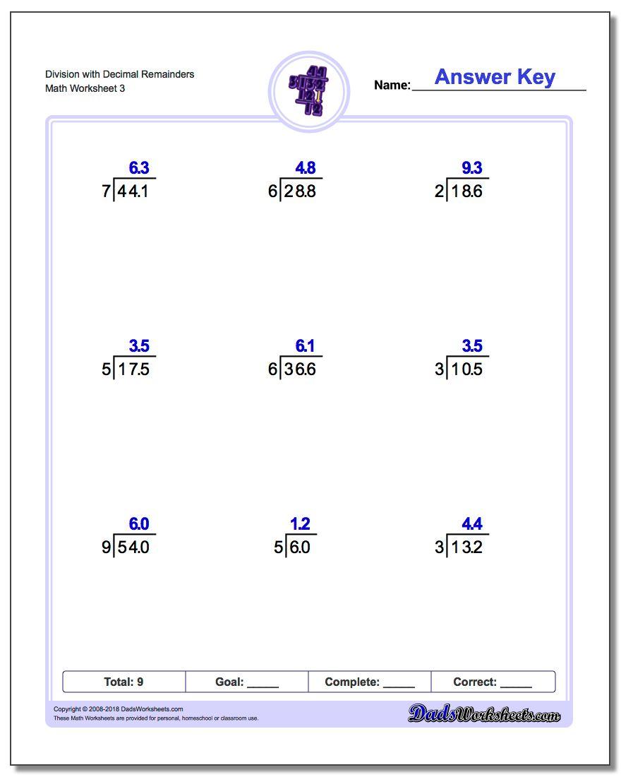 Division Worksheet with Decimal Remainders