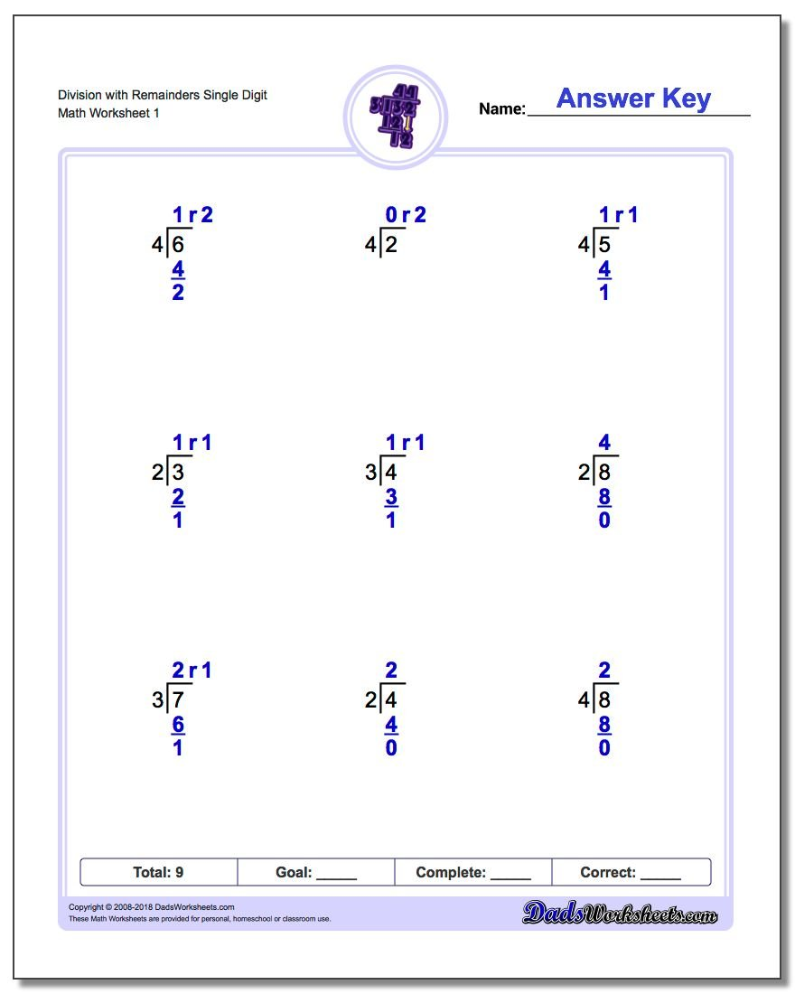 Long Division Worksheets – One Digit Division Worksheets
