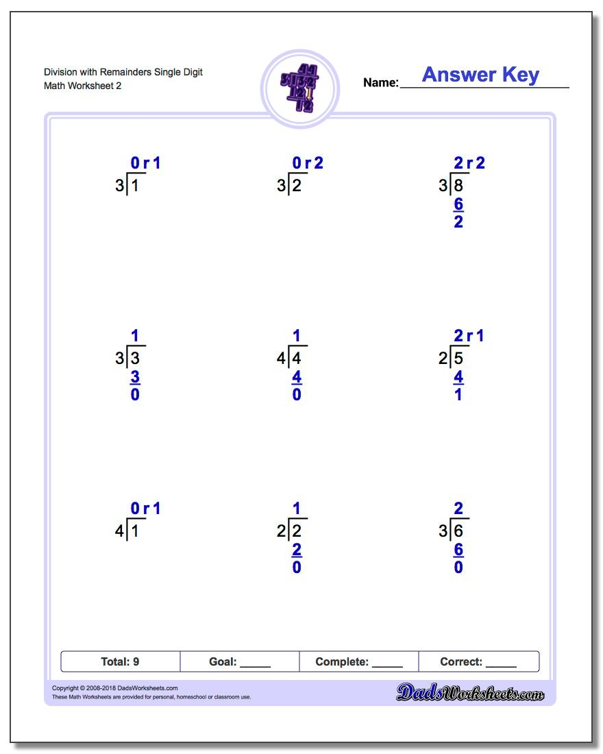 Division Worksheet with Remainders Single Digit www.dadsworksheets.com/worksheets/long-division.html