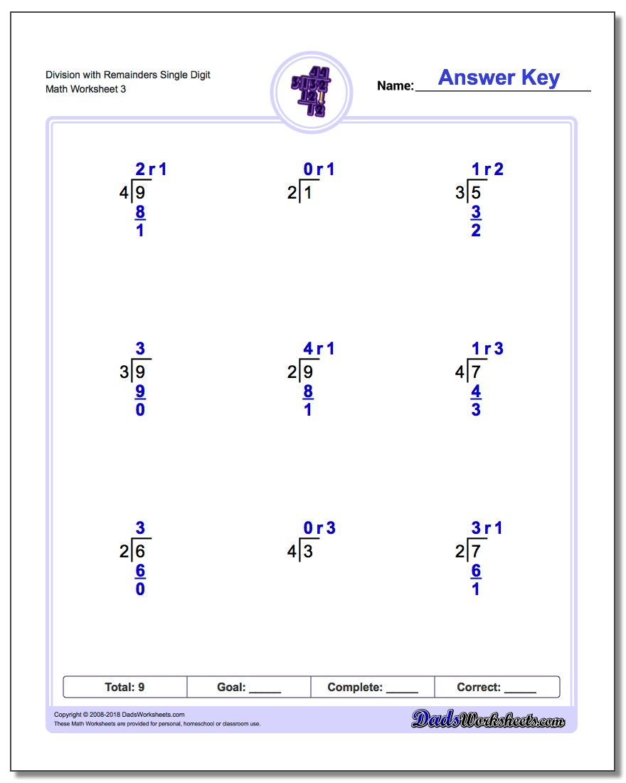 Division Worksheet with Remainders Single Digit