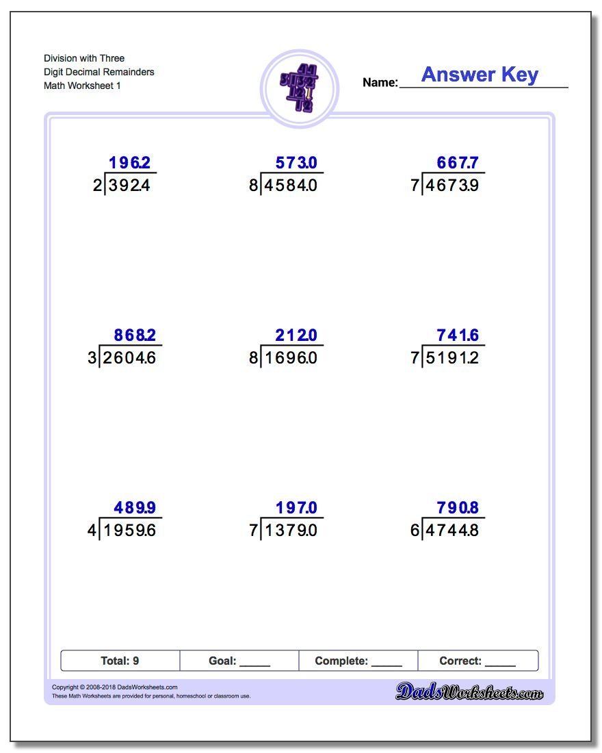 Division with Decimal Results – Decimals Division Worksheets