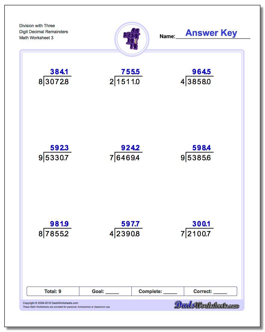Division Worksheet with Three Digit Decimal Remainders