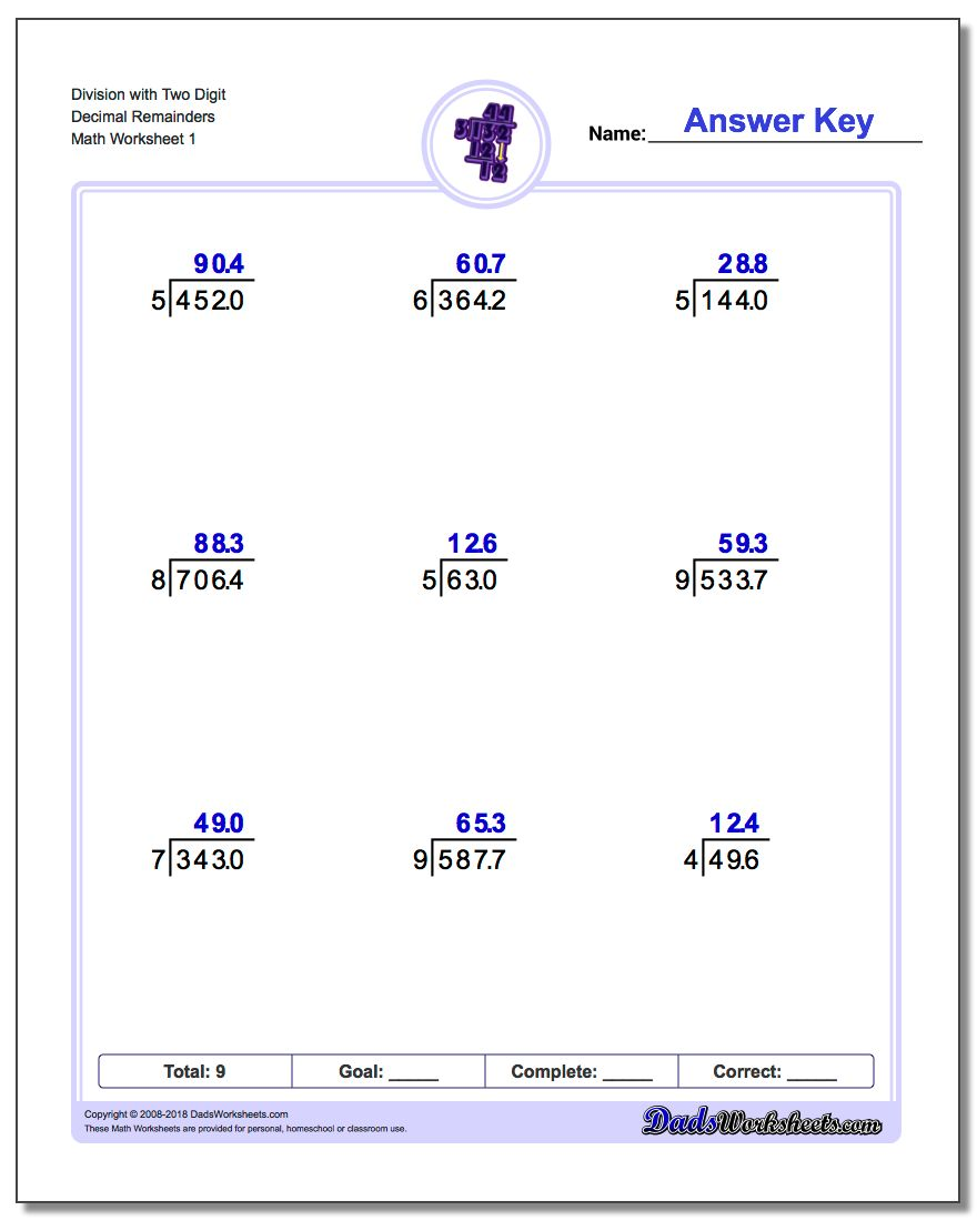 Long Division Worksheet with Two Digit Decimal Remainders