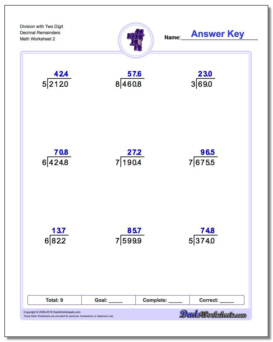 Division Worksheet with Two Digit Decimal Remainders www.dadsworksheets.com/worksheets/long-division.html
