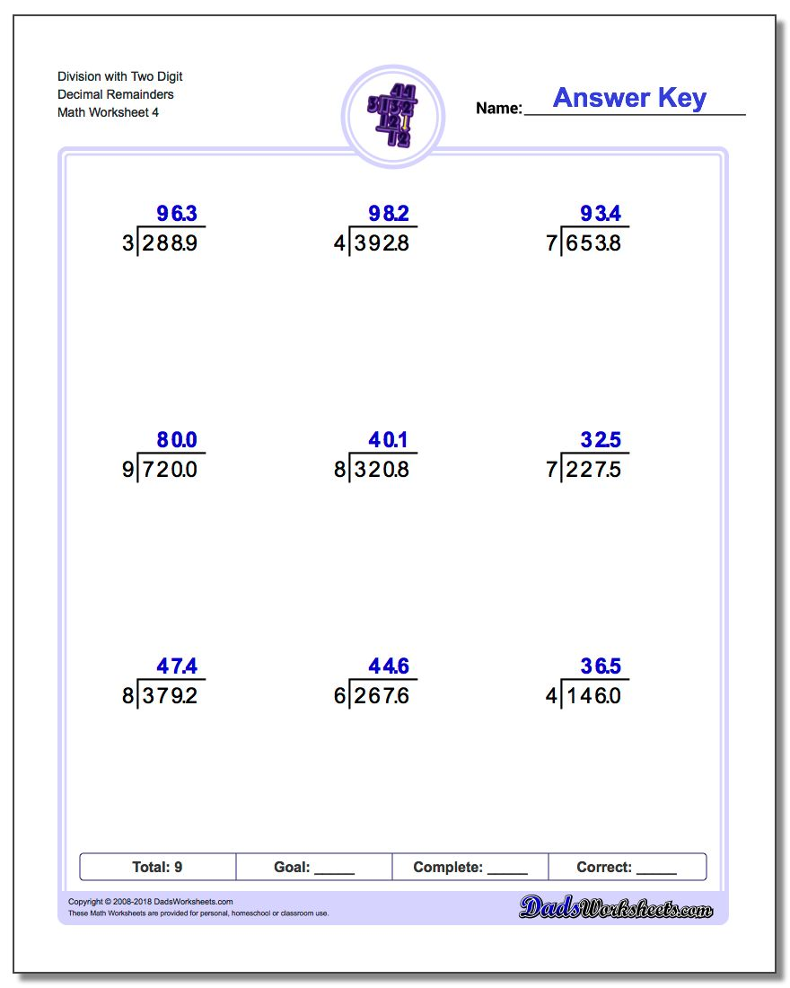 Division Worksheet with Two Digit Decimal Remainders