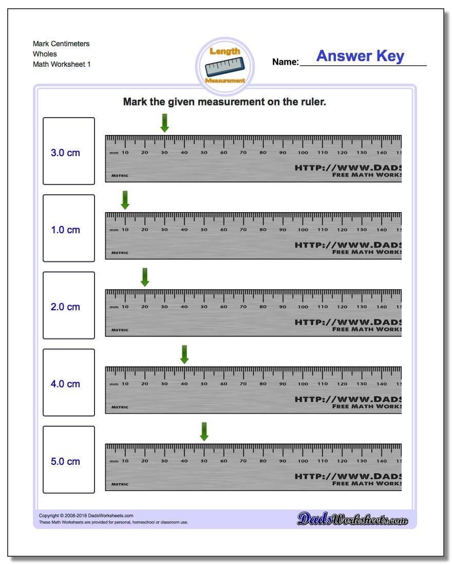 Mark Centimeters Wholes Metric Measurement Worksheet