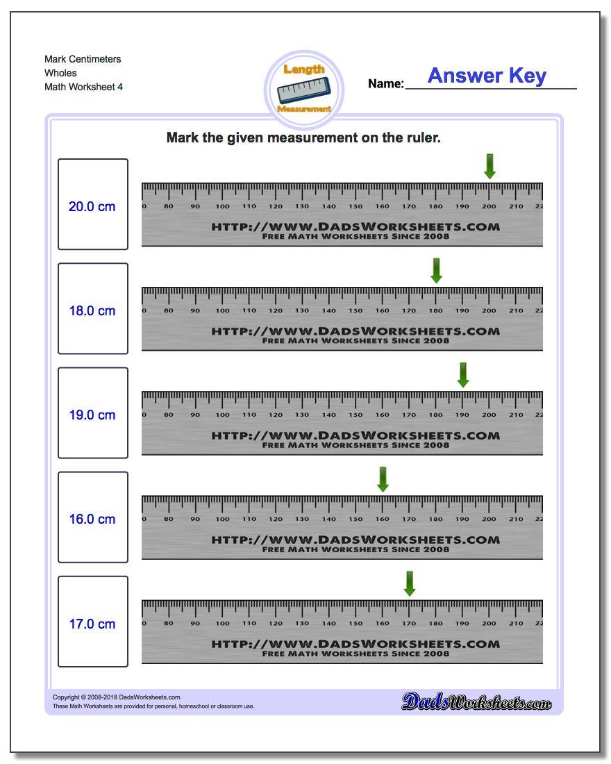 Mark Centimeters Wholes Worksheet