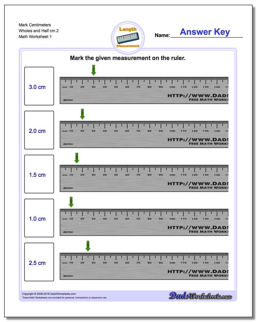 Mark Centimeters Wholes and Half cm 2 Metric Measurement Worksheet