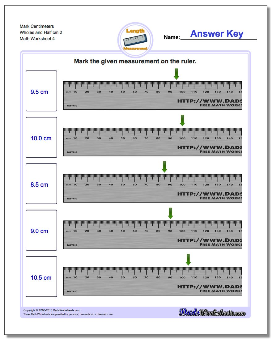 Mark Centimeters Wholes and Half cm 2  Worksheet