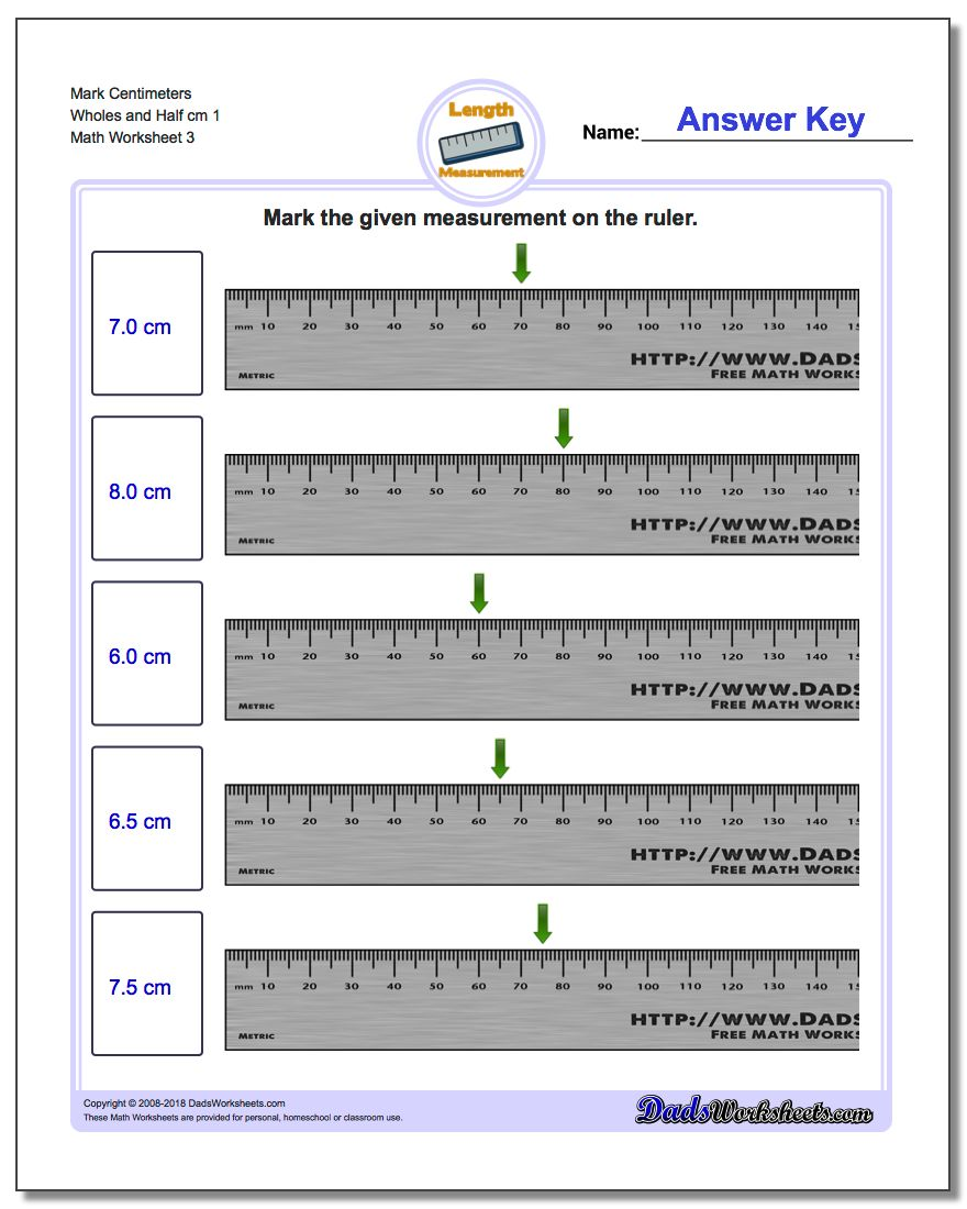 Mark Centimeters Wholes and Half cm 1  Worksheet