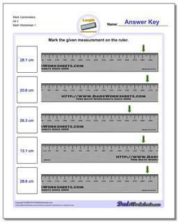 Mark Centimeters All 2 Metric Measurement Worksheet